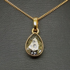 Diamond Sky Pendant Crystal Drop Gold Patina With Swarovski Crystals