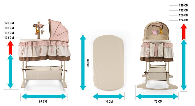 Milly Mally Sweet Melody Cradle 4 in 1 Remote Cream