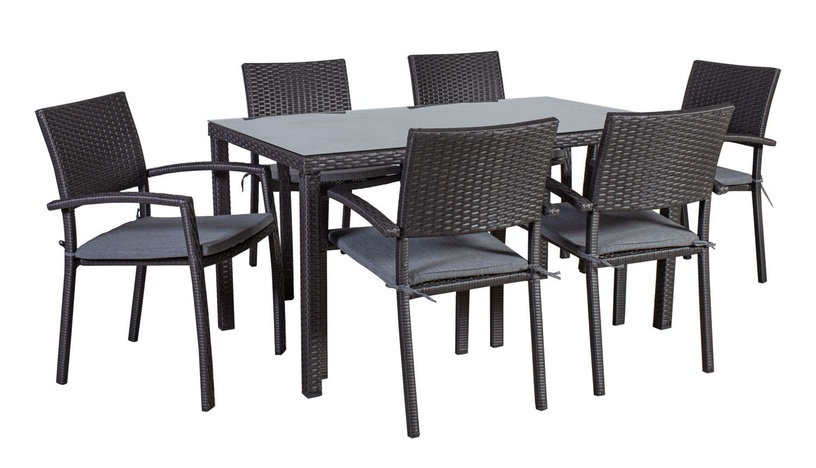 Home4you Basic-2 Table And 6 Chair Set Grey