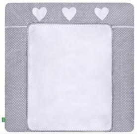 Lulando Changing Table Mat White Dots On Grey/Heart 76x76cm