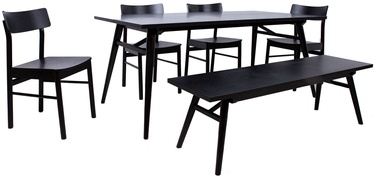 Odense Dining Table Set 4 Chairs Black
