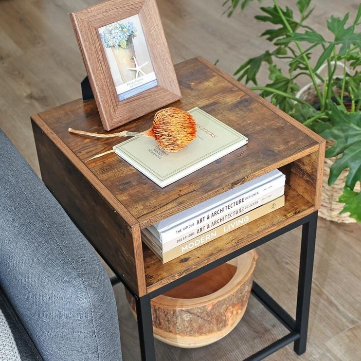 Kavos staliukas Songmics, rudas/juodas, 400x400x580 mm