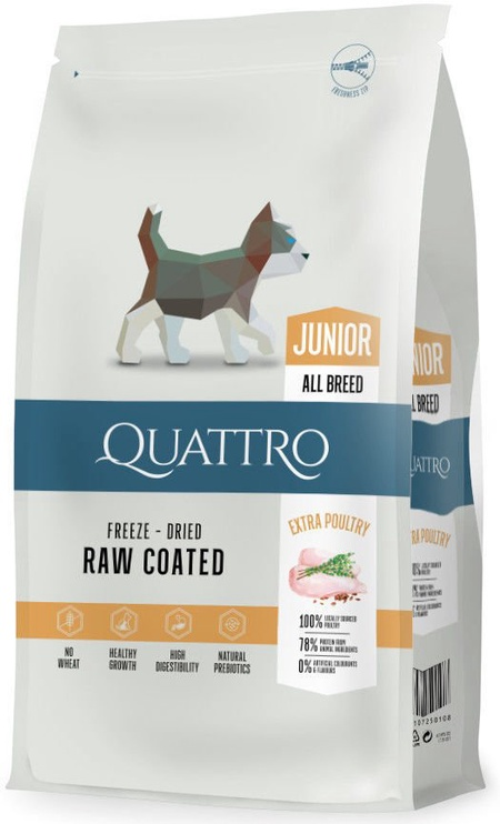 Pašaras Quattro jauniems šunims su paukštiena 7kg
