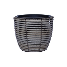 Home4you Wicker Flowerpot D24x20cm Grey