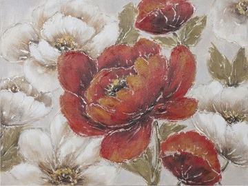 Home4you Print Picture Oil On Canvas 75x100cm Red And White Flowers 83729