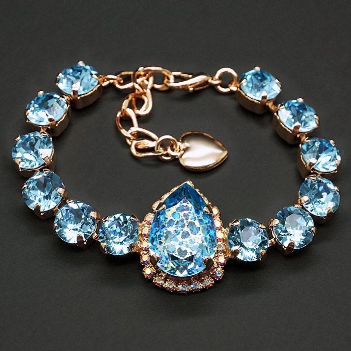 Diamond Sky Bracelet Celestial Drop Aquamarine White Patina With Swarovski Crystals