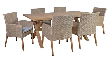 Home4you Henry Table And 6 Chairs Beige