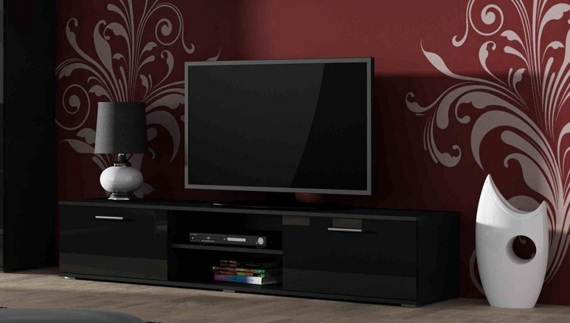 TV galds Cama Meble Soho 180, melna, 1800x430x370 mm
