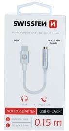 Swissten USB-C to 3.5mm Audio Adapter 15cm Silver