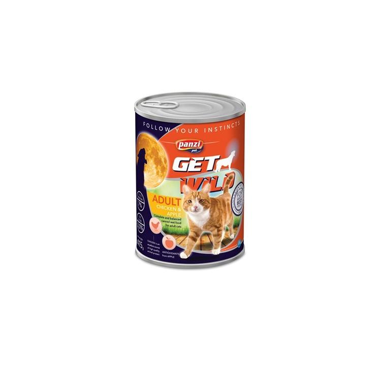 Konservi pieaugušiem kaķiem Panzi Get Wild, ar vistu un āboliem, 415 g