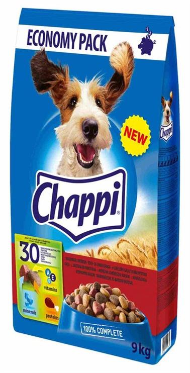 Sausas ėdalas šunims Chappi, su jautiena ir paukštiena, 9 kg