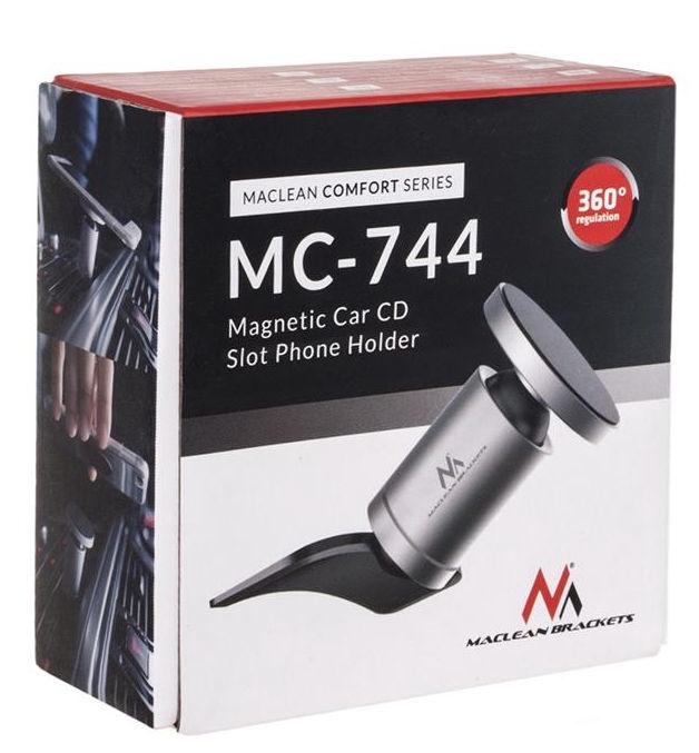 Maclean MC-744 Round Aluminum Magnetic Holder Grey