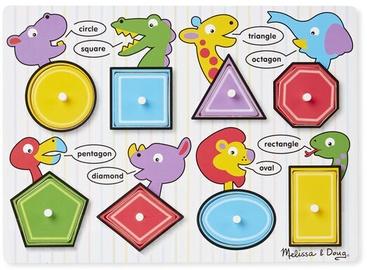 Melissa & Doug Shapes Peg Puzzle 8pcs 3285