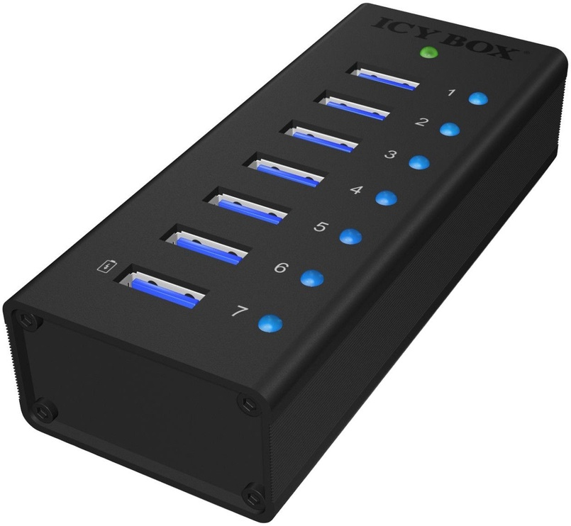ICY BOX IB-AC618 7x Port USB 3.0 Hub with USB Charge Port Black