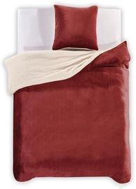 DecoKing Teddy Bedding Set Dark Red 200x200/80x80 2pcs