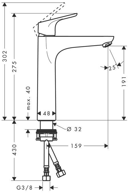 Jaucējkrāns izlietnei Hasgrohe Focus 31518000 20,7x27,5x4,8cm