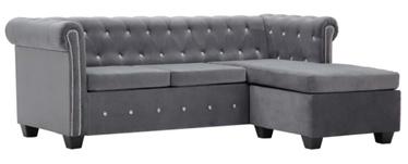 Угловой диван VLX Chesterfield L-Shaped, серый, 142 x 199 x 72 см