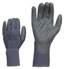 SN Nylon Gloves PU Wrist 10 Grey