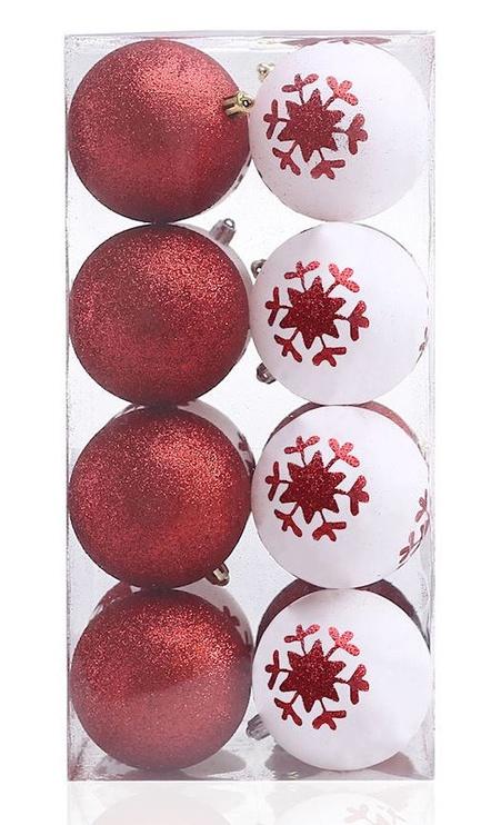 Ziemassvētku eglītes rotaļlieta DecoKing Cherry White/Red, 16 gab.