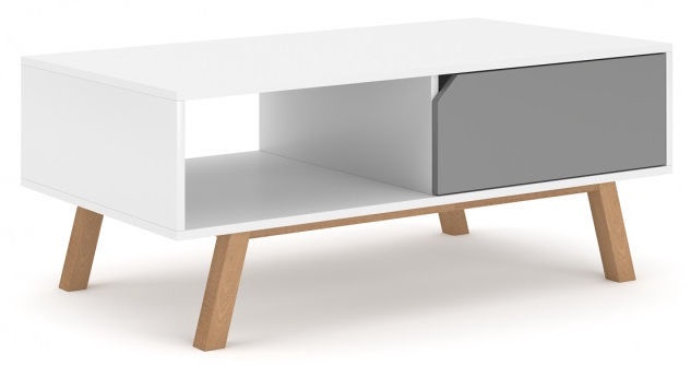 Kafijas galdiņš Vivaldi Meble Tokio, balta/pelēka, 1100x600x450 mm