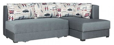 Kampinė sofa Bodzio Judyta Grey/London 1, dešininė, 225 x 155 x 77 cm