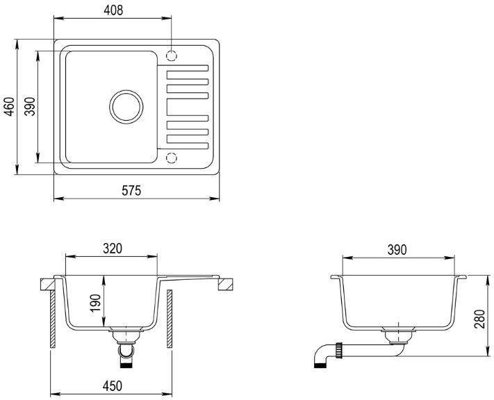 Мойка Aquasanita SQ102-601AW Granite Sink 575x460mm Black