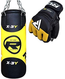 RDX Sports Kids 2FT Boxing Bag & MMA Gloves Black/Yellow