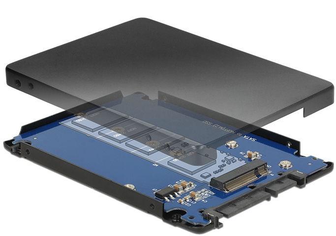 """Delock 2.5"""" SATA 22-pin to M.2 NGFF Adapter w/ Enclosure"""