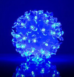 EV LED 50 Ball with Flowers Blue D11cm