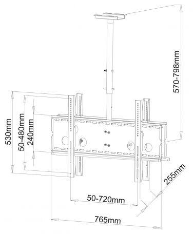 ART AR-21D LED/LCD/PLAZMA Double Ceiling Bracket 30-65''