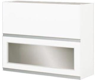Верхний кухонный шкаф Bodzio Top with Glass Sandi 80 White, 800x310x720 мм