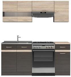 Virtuvės baldų komplektas Black Red White Junona Wenge/Sonoma Oak, 1.8 m