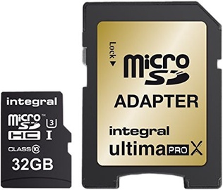 Integral UltimaPro X Gold 32GB microSD UHS-I U3 Class 10 + SD Adapter