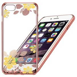 X-Fitted Yellow Flower Swarovski Crystals Back Case For Apple iPhone 6/6s Pink