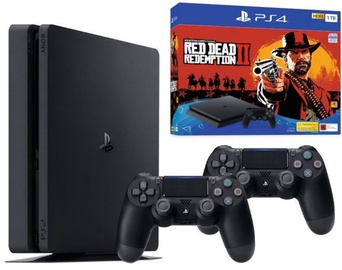Sony Playstation 4 Slim 1TB (PS4) Black plus 2 Dualshock Controllers plus Red Dead Redemtion 2