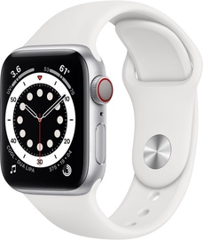 Išmanusis laikrodis Apple Watch Series 6 GPS LTE + Cellular, 40mm Aluminum White Sport Band, balta