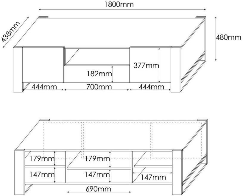 TV galds Cama Meble Wood, brūna/melna/pelēka/ozola, 1800x440x480 mm