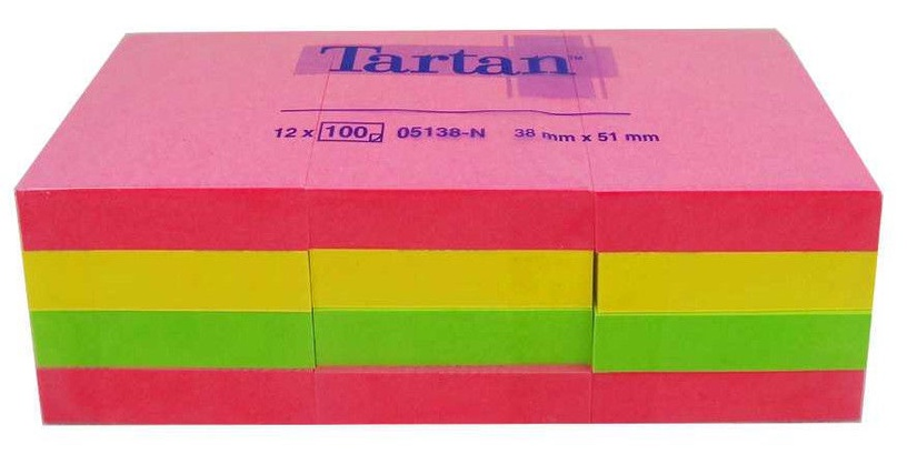 3M Tartan Sticky Notes 12x100pcs Neon Colors