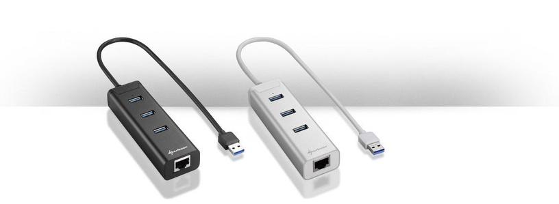 USB-разветвитель (USB-hub) Sharkoon 3-Port USB 3.0 + RJ45 Hub Silver