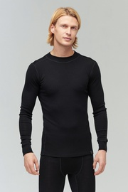 Audimas Merino Wool Rib Knit Long Sleeve Base Layer Top Black M