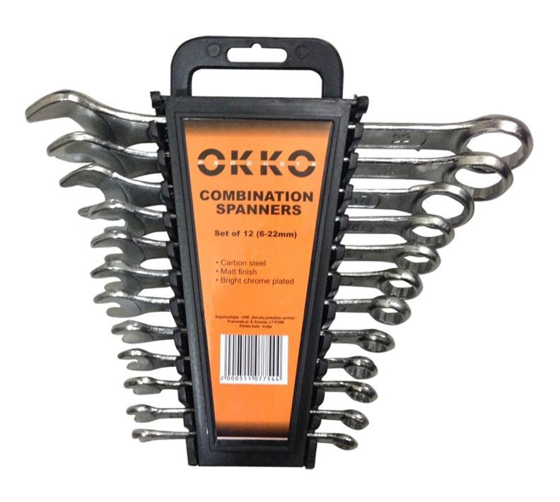 Kombinēto uzgriežņu atslēgu komplekts 6-22mm 12 gab (okko)