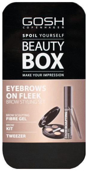 Gosh Beauty Box Brow Styling Set Brow Kit 3.3g 01 + 8ml Brow Sculpting Fiber Gel 01 + Tweezers
