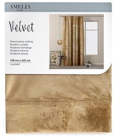 Nakts aizkari AmeliaHome Velvet Pleat, brūna, 1400x2450 mm