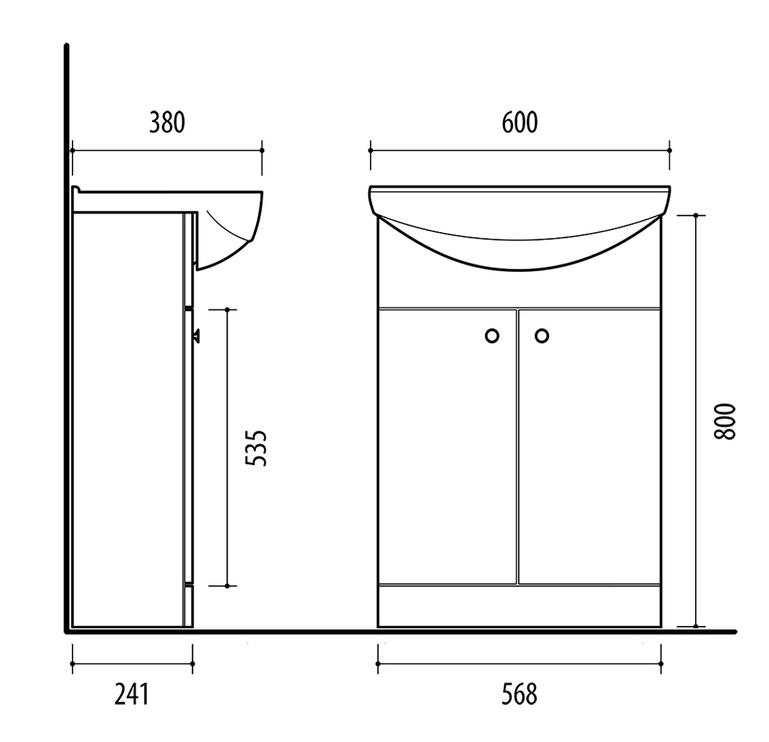 Vonios spintelė Riva su praustuvu SA60D, balta