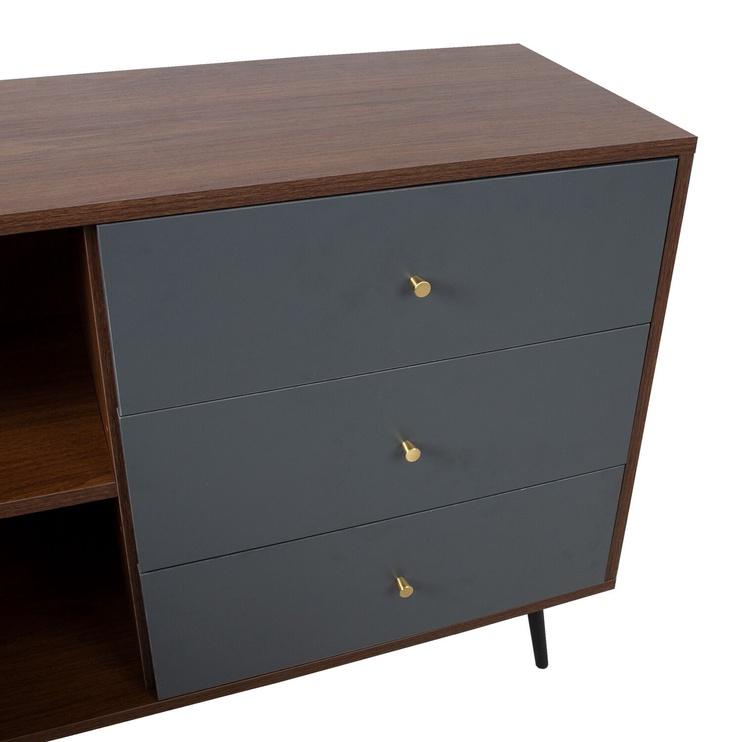 Home4you Rio Chest Of Drawers 118x40x77cm Walnut/Grey