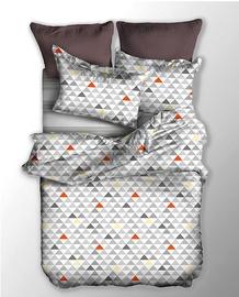 Gultas veļas komplekts DecoKing Basic, balta/oranža/pelēka, 155x220/80x80 cm