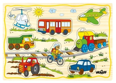 Woodyland Educational Color Puzzle Set Vehicles 12pcs 90252