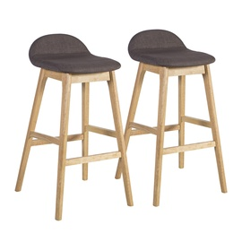 Home4you Bloom Bar Stools Brown/Oak 2pcs