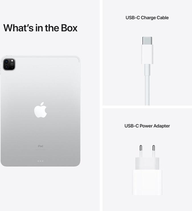 Планшет Apple iPad Pro 11 Wi-Fi 5G (2021), серебристый, 11″, 8GB/128GB