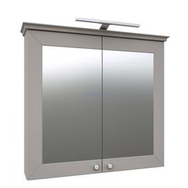 Spintelė su veidrodžiu, 79 cm, pilkas kašmyras, LED apšvietimas IP44, 4000K, jungiklis + rozetė